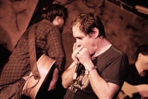 Ed Abbiati, my producer, strumming while I'm humming.  Photo by Chiara Meatelli