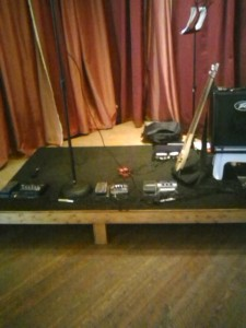 Shot of stage showing RP and amp setup