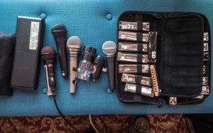 Mics collected over the years: Audix Fireball V, Peavey PVM, AudioTechnica BT330D, Bottle o' Blues, Shaker Dynamic, Shure SM58