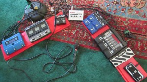 That's my JamMan Stereo looper--the blue box at center-right.