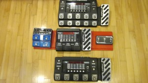 My current pedalboard in the middle--the RP500 and RP1000 account for 2/3 of the length