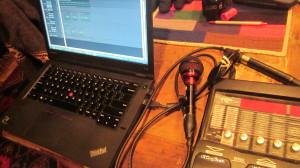 The Idaho Kitchen Harp Recording Rig: laptop running Sonar X3, Audix Fireball mic, Digitech RP355