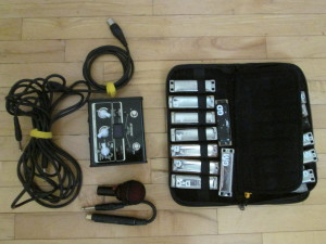 The complete set of gear I took to the jam at ANTB.  Vox Stomplab IG in center.