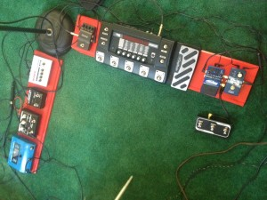 My rig as of October 2015. Digitech iStomp is to the left of the RP500.